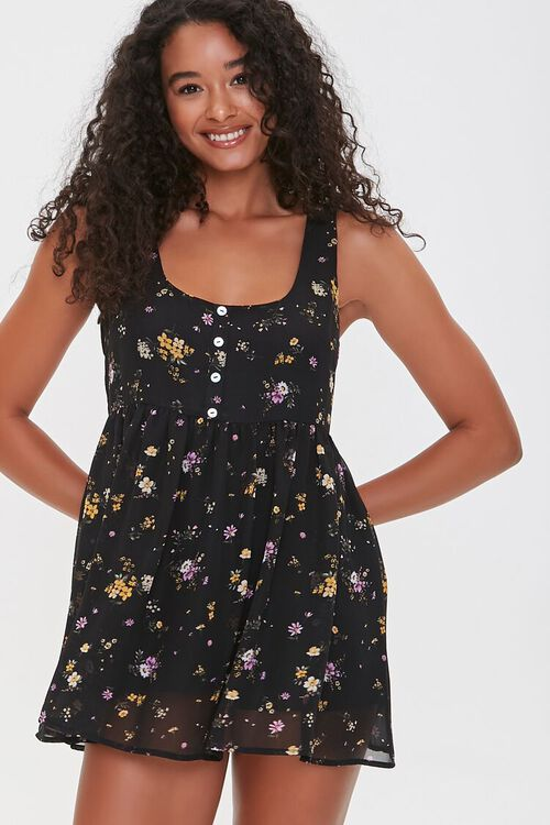 BLACK/MULTI Sleeveless Floral Print Romper, image 2