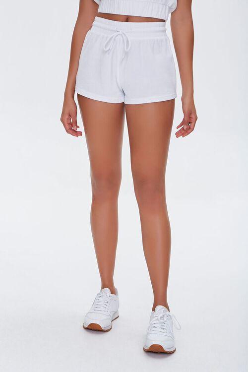 WHITE French Terry Drawstring Shorts, image 2