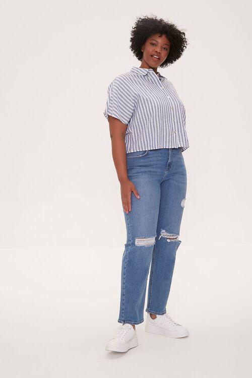 Plus Size Distressed Straight-Leg Jeans, image 1