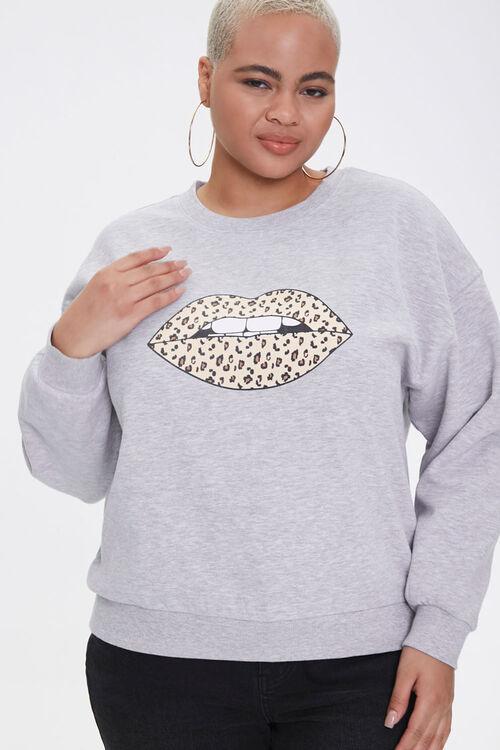 Plus Size Leopard Lips Sweatshirt, image 1