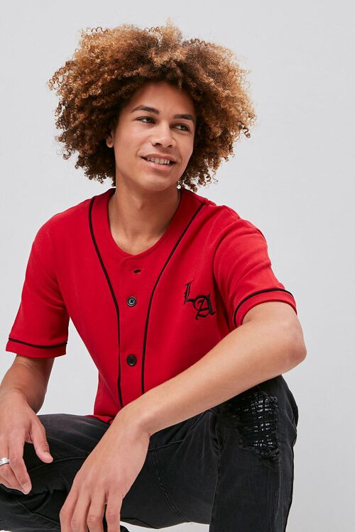 Embroidered LA Graphic Baseball Jersey, image 1
