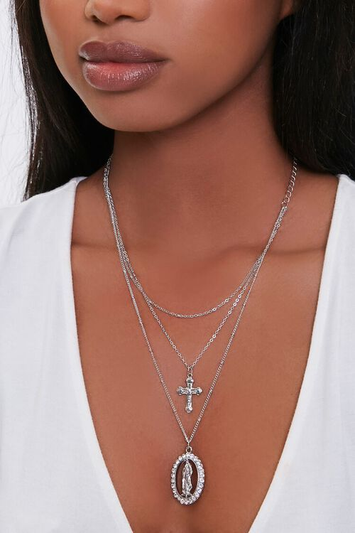 SILVER Cross Pendant Layered Necklace, image 1