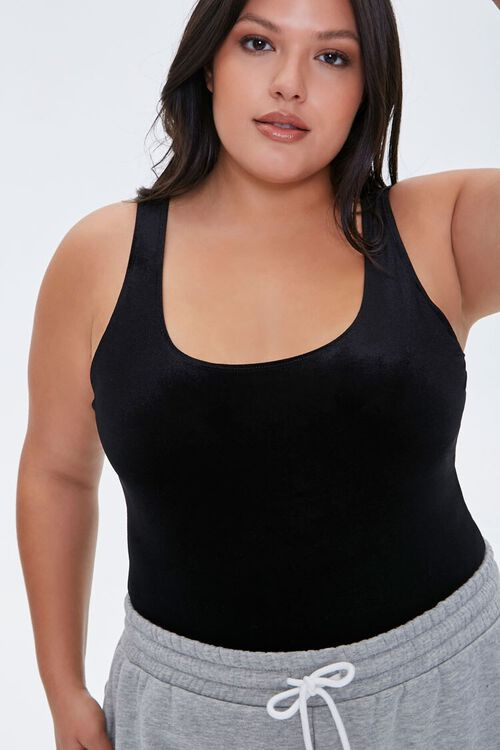 Plus Size Velvet Tank Bodysuit, image 1