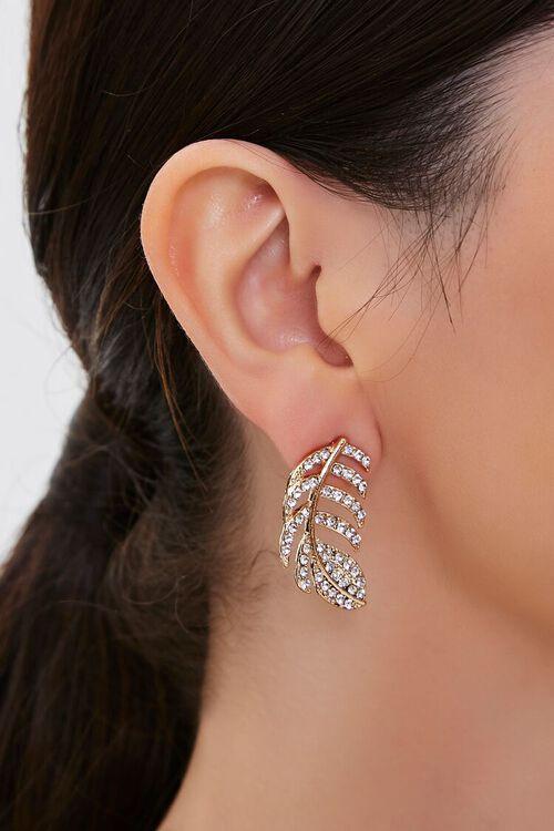 Rhinestone Leaf Pendant Stud Earrings, image 1