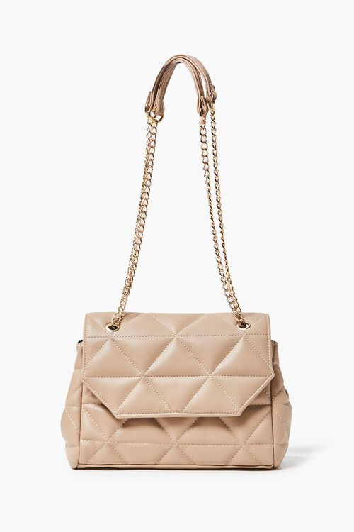 TAUPE Quilted Faux Leather Crossbody Bag, image 3