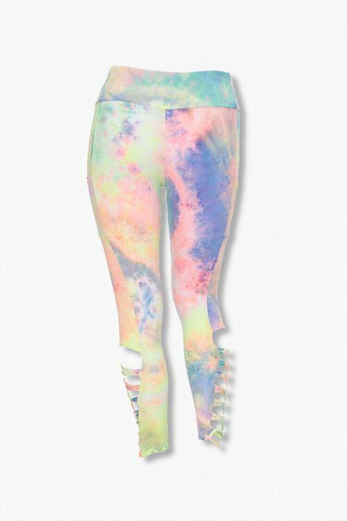 PINK/MULTI Plus Size Tie-Dye Caged Leggings, image 2