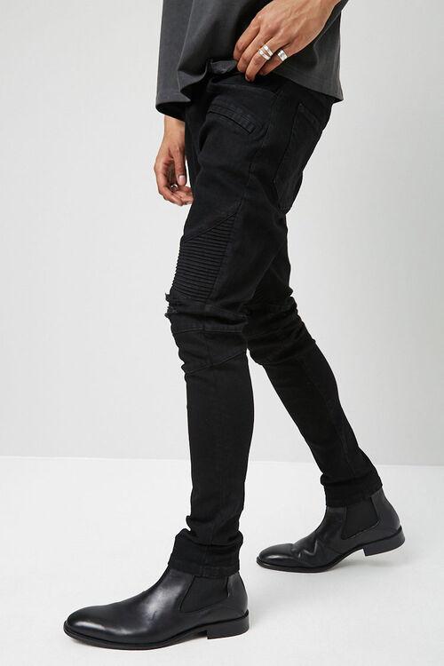 Distressed Slim-Fit Moto Jeans, image 3