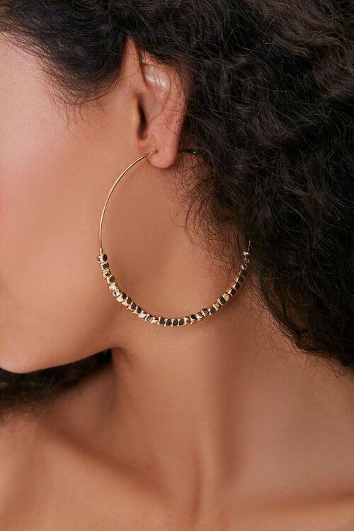 GOLD Square Beaded Hoop Earrings, image 1