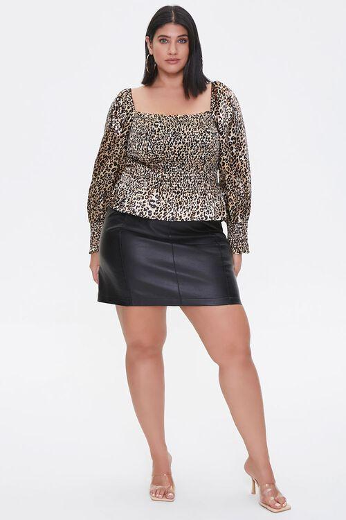 Plus Size Satin Leopard Print Top, image 4