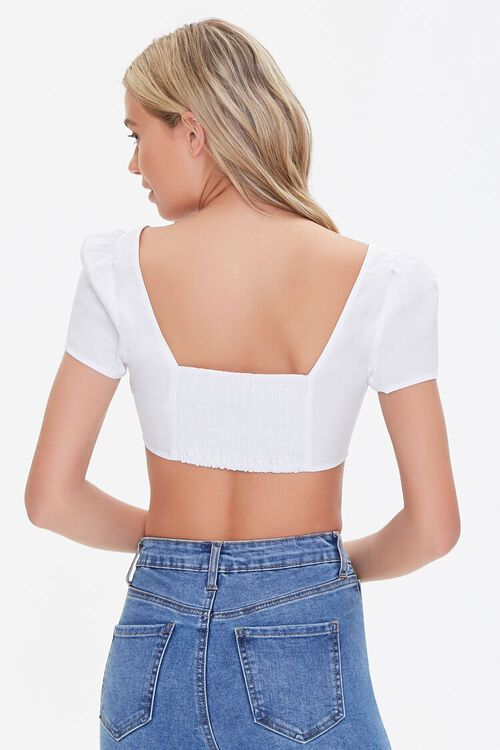 Smocked Button-Front Crop Top, image 3