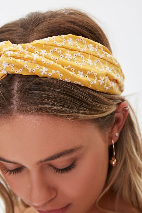 Embroidered Floral Headwrap, image 3