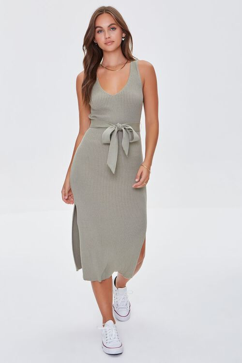 LIGHT OLIVE Belted Ribbed Bodycon Dress, image 4