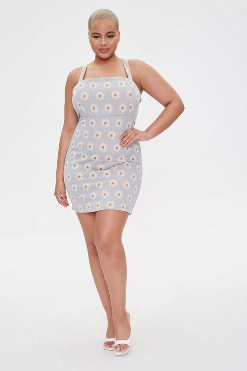 LIGHT BLUE/MULTI Plus Size Daisy Print Mini Dress, image 4