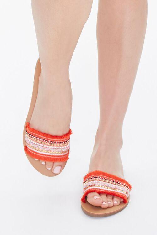 ORANGE Beaded Fringe-Vamp Sandals, image 4