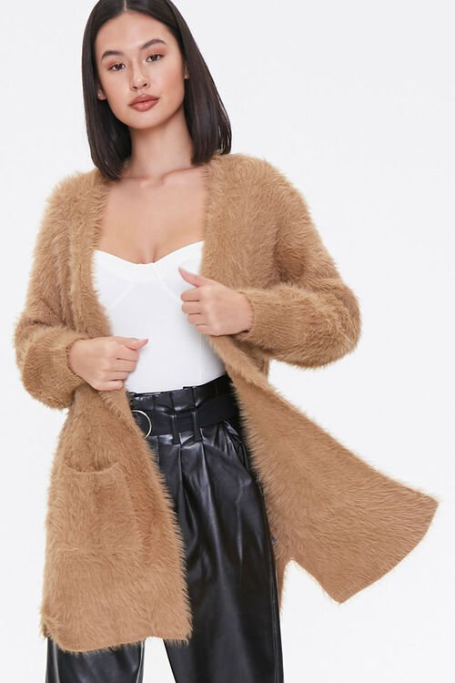 Fuzzy Knit Open-Front Cardigan, image 1