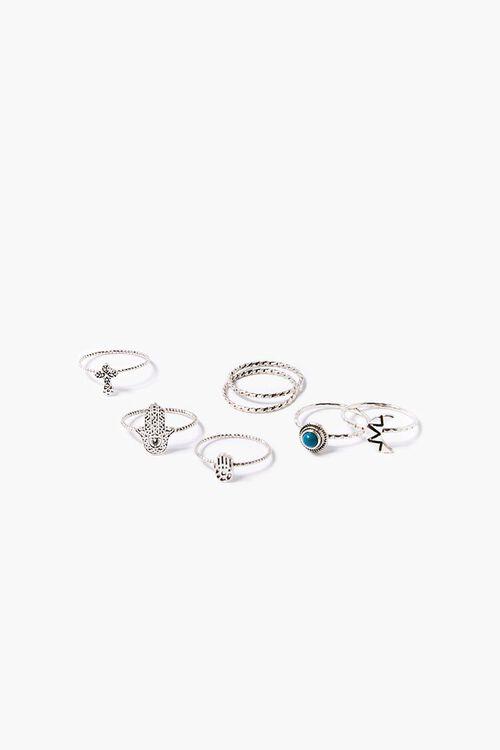Cross & Hand Charm Ring Set, image 1