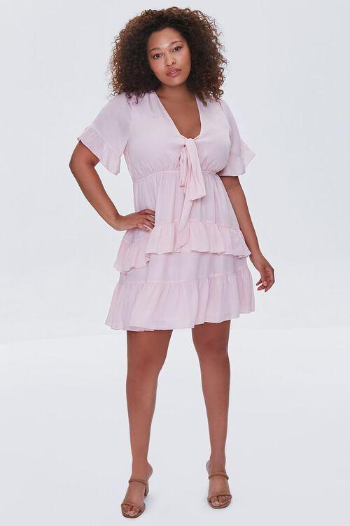 LIGHT PINK Plus Size Flounce Bow Dress, image 4