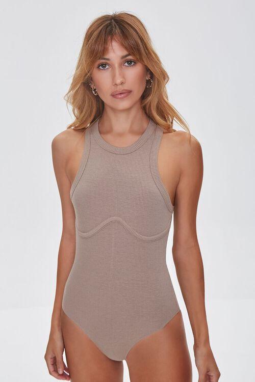 TAUPE Ribbed Sleeveless Bodysuit, image 5