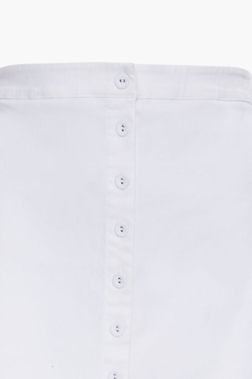 WHITE Plus Size Button-Front Denim Skirt, image 4