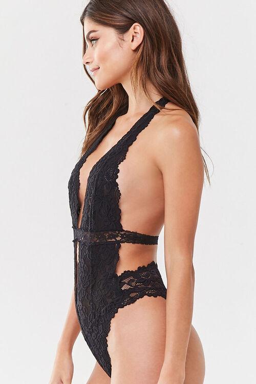 BLACK Lace Halter Bodysuit, image 2