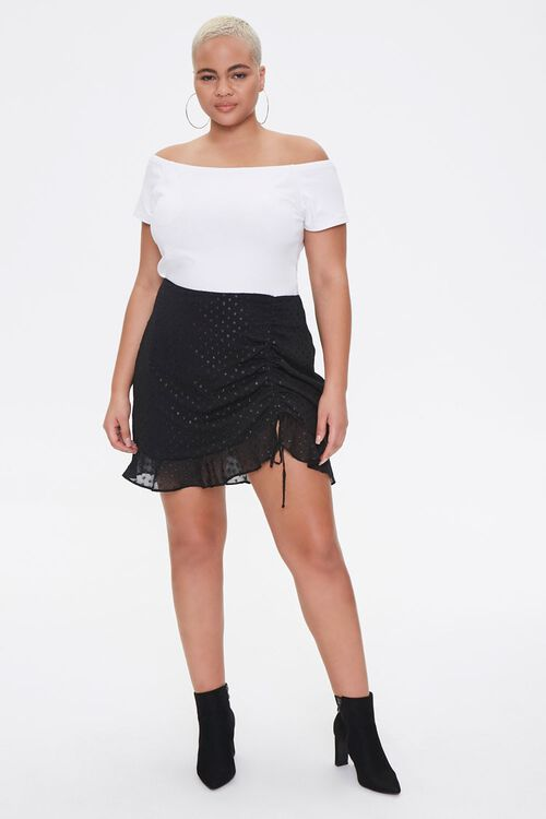 Plus Size Ruched Polka Dot Skirt, image 4