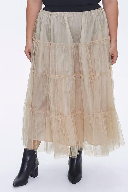 Plus Size Ruffle Mesh Maxi Skirt, image 2