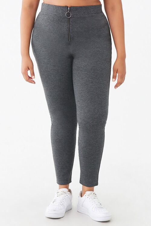 Plus Size Zip-Front Leggings, image 2