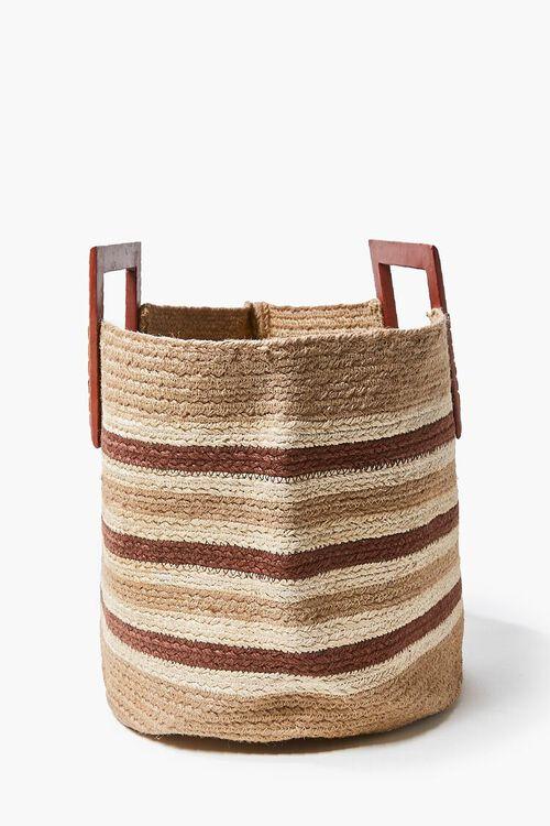 Striped Straw Tote Bag, image 2