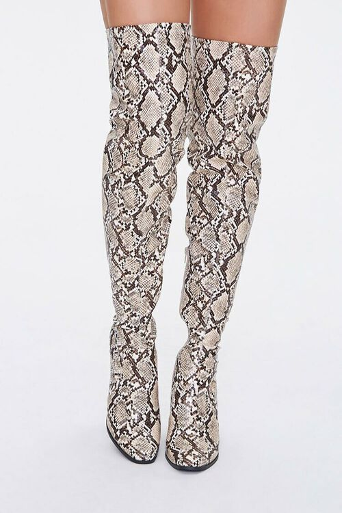 Faux Snakeskin Over-the-Knee Boots, image 4