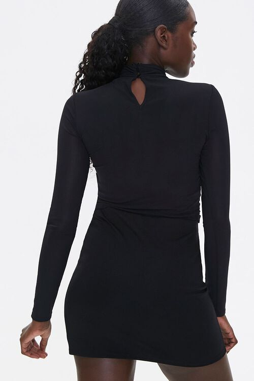 Ruched Drawstring Mock Neck Top, image 3