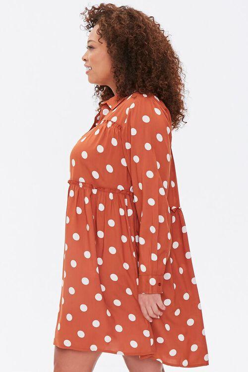 RUST/IVORY Plus Size Polka Dot Shirt Dress, image 2