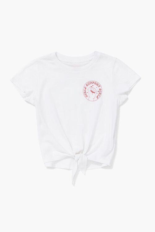 Girls Support Graphic Knotted Tee (Kids), image 1
