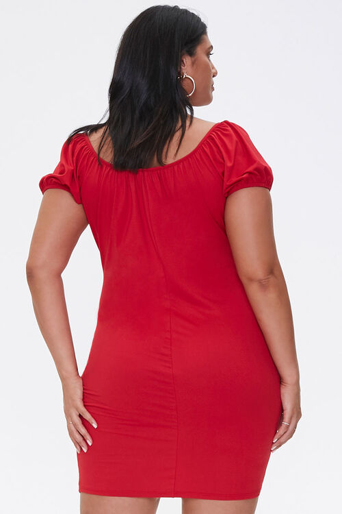 Plus Size Puff-Sleeve Mini Dress, image 3