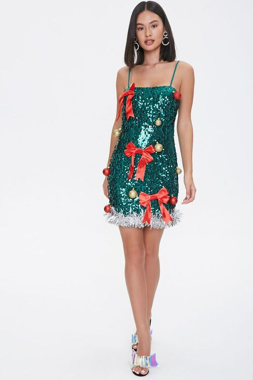 GREEN/RED Sequin Christmas Tree Dress, image 4