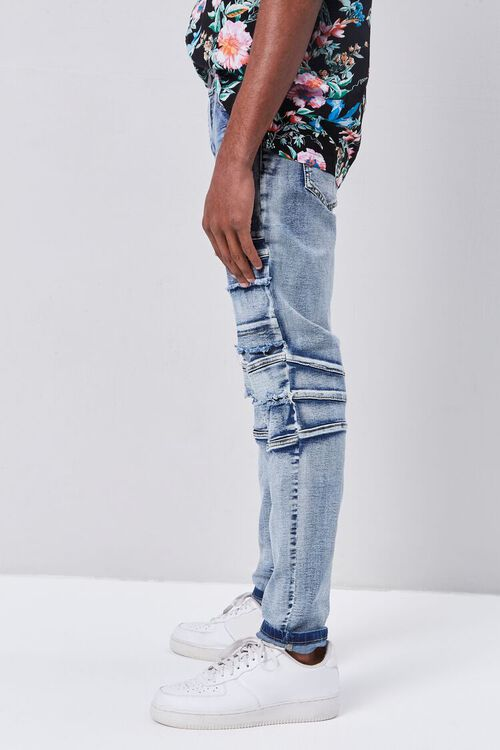 Paneled Distressed Slim-Fit Jeans, image 3