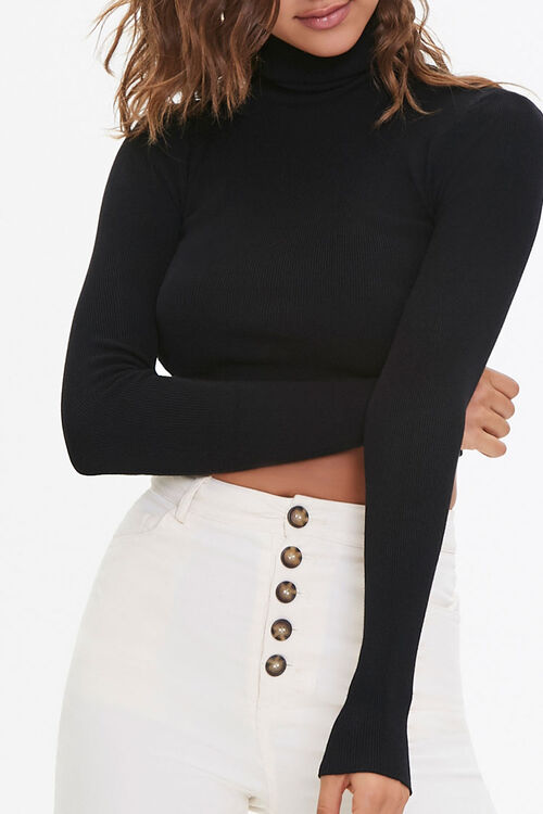 Cropped Turtleneck Sweater, image 1