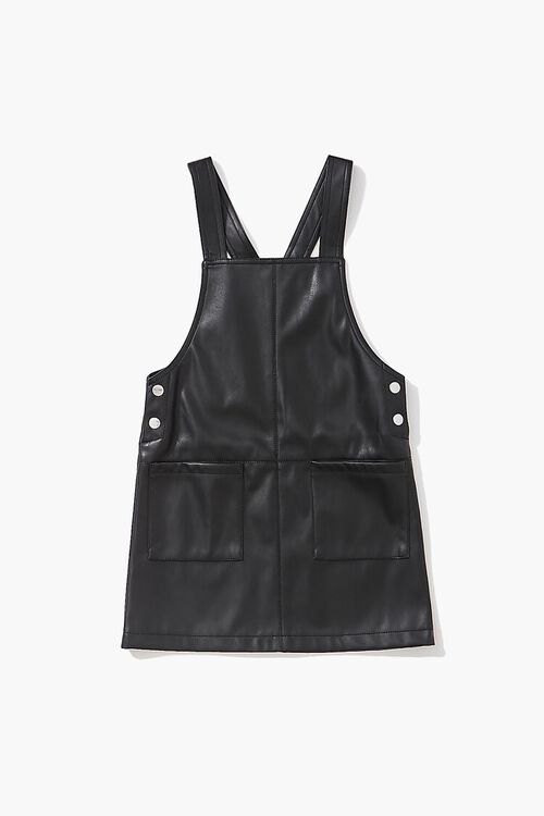BLACK Girls Faux Leather Pinafore Dress (Kids), image 1