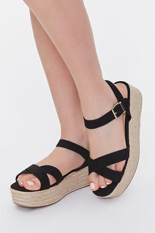 Faux Suede Espadrille Flatform Sandals, image 1