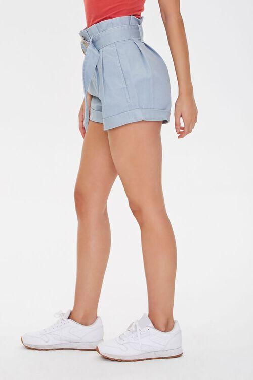 Belted Paperbag Denim Shorts, image 3