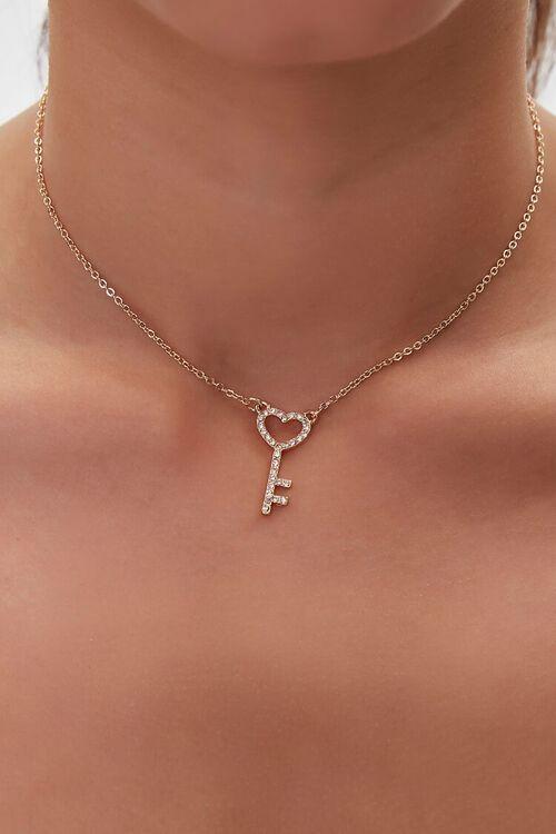 GOLD Rhinestone Pendant Necklace, image 1
