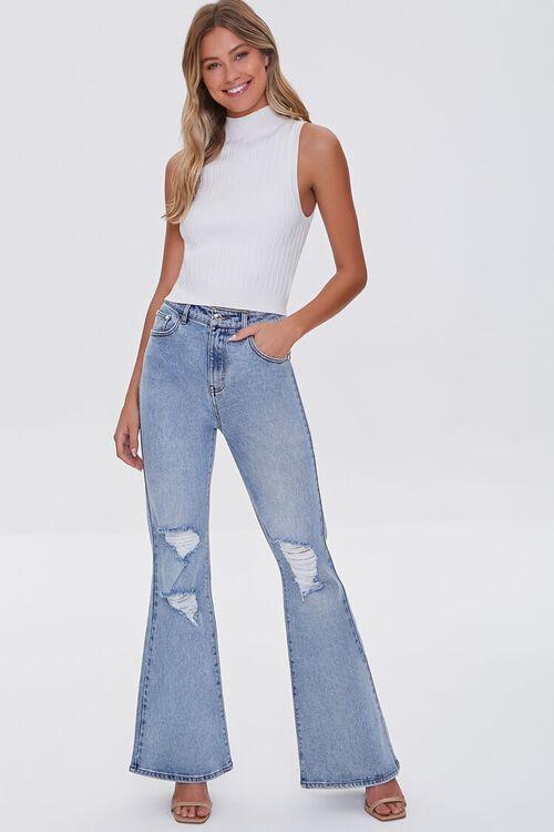 LIGHT DENIM Premium Distressed Flare Jeans, image 1