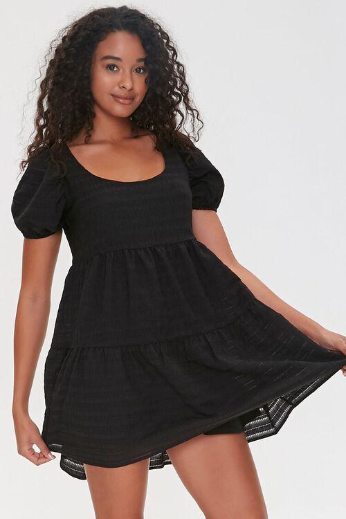 Striped Puff-Sleeve Mini Dress, image 1