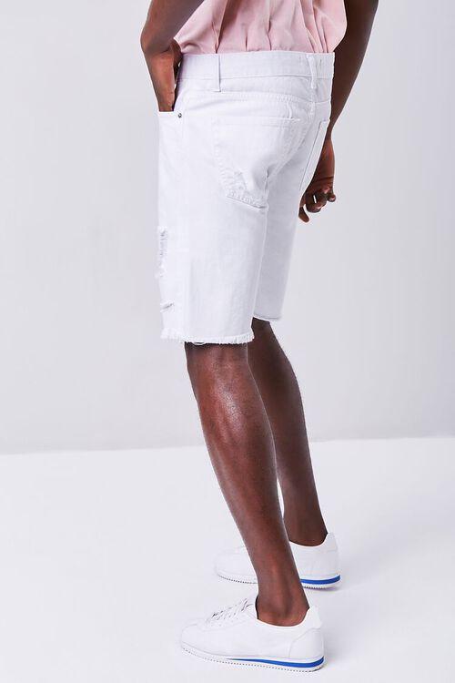 WHITE Distressed Denim Shorts, image 3