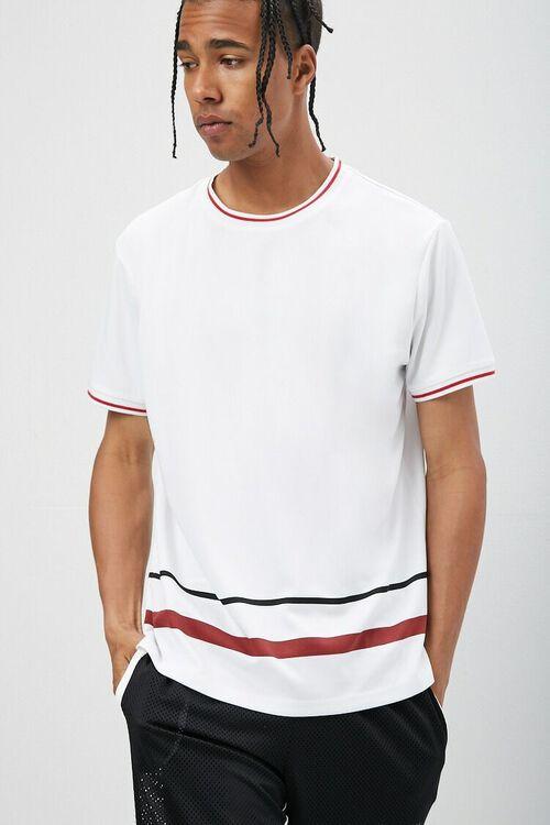 Jersey Mesh Striped-Trim Tee, image 1