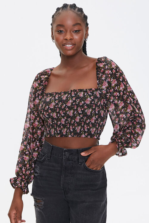 BLACK/MULTI Smocked Floral Print Crop Top, image 1