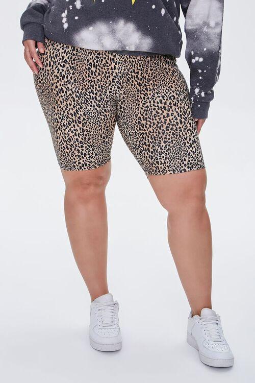 TAN/BLACK Plus Size Leopard Print Biker Shorts, image 2