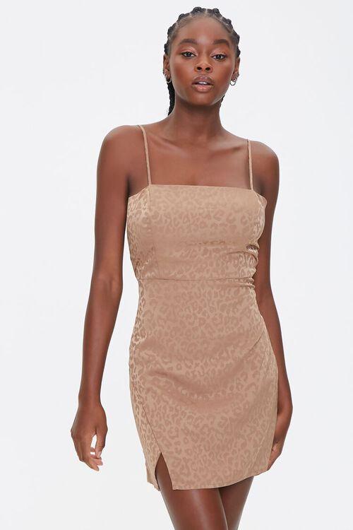 TAUPE Satin Leopard Print Dress, image 1