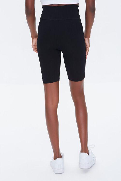 BLACK Active Seamless Notched Biker Shorts, image 4