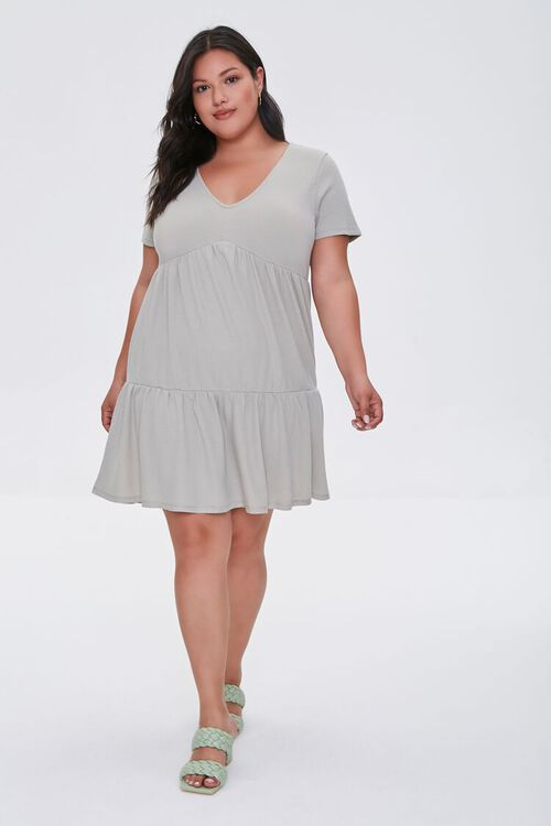 Plus Size Tiered Tie-Back Mini Dress, image 4