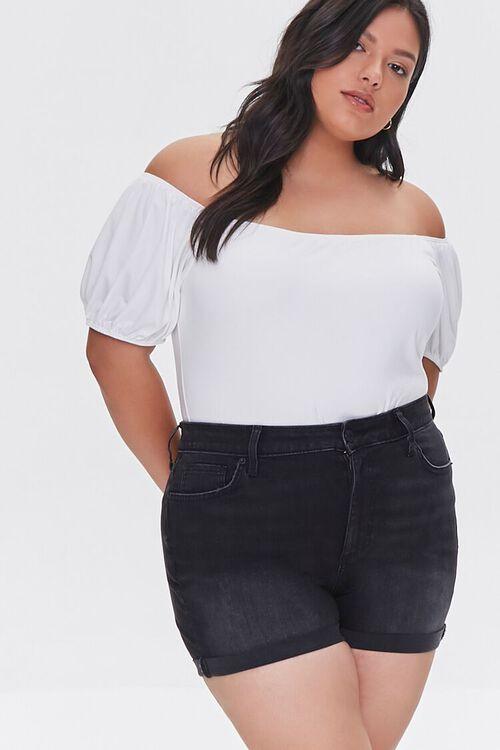 WASHED BLACK Plus Size Cuffed Denim Shorts, image 1